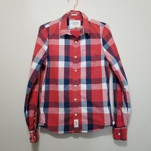 Abercrombie & Fitch plaid muscle button up shirt